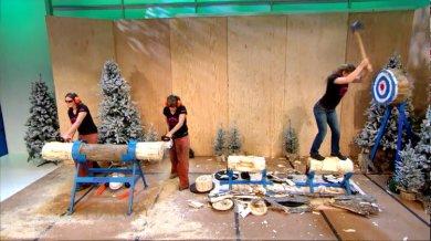 Harry tries ax tricks