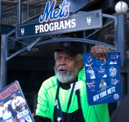 Man handing out Mets oficial booklets at Harvey Day and a 8 game win streak at Citi Field in Queens, New York on Sunday April 19th, 2015 photo by Samantha Sedlack
