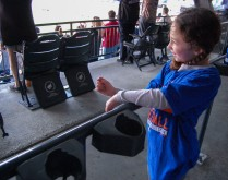 A little Mets fan enjoys a run on very family friendly crowd at Harvey Day and a 8 game win streak at Citi Field in Queens, New York on Sunday April 19th, 2015 photo by Samantha Sedlack